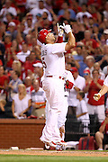 29 June 2010:St. Louis Cardinals first baseman Albert Pujols (5) celebrates at home plate after hitting his second home run against the Arizona Diamondbacks on Tuesday night at Busch Stadium in St. Louis, Missouri.
