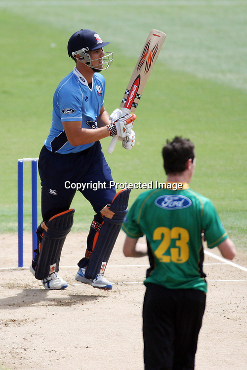 Anaru Kitchen and Milne watch as Kitchen is catugh out by Peter Ingram. Auckland Aces v Central Stags, One Day Cricket. Colin Maiden Park, Auckland, Wednesday 19 January 2011. Photo: Ella Brockelsby/photosport.co.nz