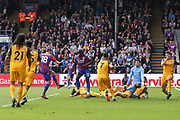 Crystal Palace #18 James McArthur shoots at goal during the Premier League match between Crystal Palace and Brighton and Hove Albion at Selhurst Park, London, England on 14 April 2018. Picture by Phil Duncan.