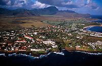 Aerial view of the Poipu resort area, Kaua'i, Hawaii USA.