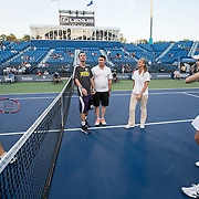 August 24, 2016, New Haven, Connecticut: <br /> A coin toss before a match between Petra Kvitova of the Czech Republic and Eugenie Bouchard of Canada on Day 6 of the 2016 Connecticut Open at the Yale University Tennis Center on Wednesday, August  24, 2016 in New Haven, Connecticut. <br /> (Photo by Billie Weiss/Connecticut Open)