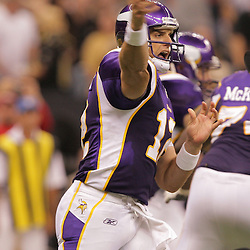 2008 October, 06: Minnesota Vikings quarterback Gus Frerotte (12) throws a pass during a week five regular season game between the Minnesota Vikings and the New Orleans Saints for Monday Night Football at the Louisiana Superdome in New Orleans, LA.
