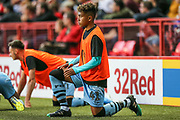 Forest Green Rovers Vaughn Covil(41)  warming up during the EFL Cup match between Charlton Athletic and Forest Green Rovers at The Valley, London, England on 13 August 2019.