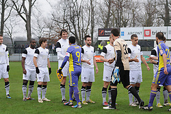 Players of Mura 05 and Maribor before football match between ND Mura 05 and NK Maribor in 21th Round of Slovenian First League PrvaLiga NZS 2012/13 on December 2, 2012 in Murska Sobota, Slovenia. (Photo By Ales Cipot / Sportida)