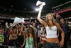Barca fans taunt the referee after he gives a red card. Barcelona v Osasuna (0-1), La Liga, Nou Camp, Barcelona, 23rd May 2009.