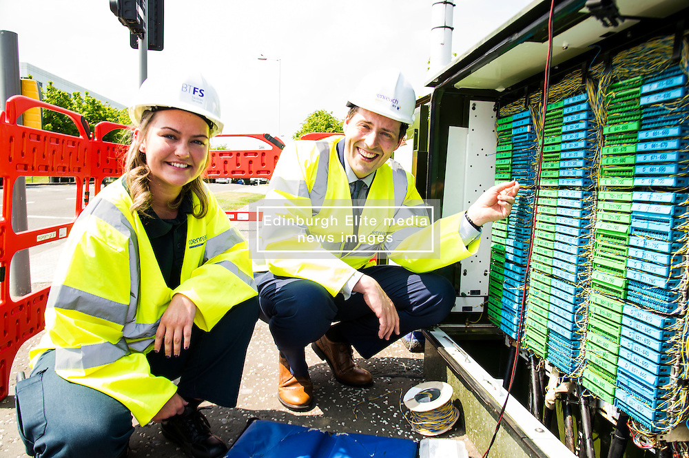 Pictured: Apprentice Laura O'Donnell shows Jamie Hepburn what goes on the the exchange boxes we all have seen at the side of the road.<br /> <br /> Minister for employability and training, Jamie Hepburn MSP visted BT's Alexander Graham Bell House today and met engineering apprentices. as he announced the latest figures on modern apprenticeships. <br /> Ger Harley   EEm 7 June 2016