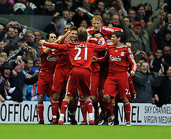 Martin Skrtel Celebrates Scoring 1st goal with Team Mates Steven Gerrard and Dirk Kuyt during the Barclays Premier League match between Liverpool and Manchester City at Anfield - 21/11/09