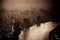 Panoramic views across the the Guangzhou skyline from the new TV Tower.