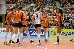 08-08-2014 NED: FIVB Grand Prix Nederland - Puerto Rico, Doetinchem<br /> Robin de Kruijf, Anne Buijs, Femke Stoltenborg, Myrthe Schoot, Judith Pietersen, Celeste Plak