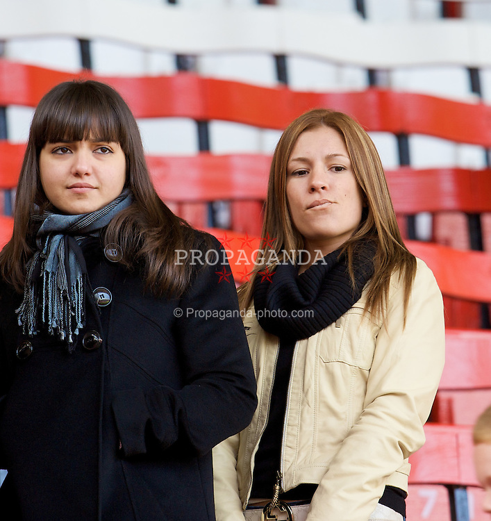LIVERPOOL, ENGLAND - Sunday, April 13, 2008: Olalla Miga Rita, girlfriend of Liverpool's Fernando Torres, with a friend during the Premiership match at Anfield. (Photo by David Rawcliffe/Propaganda)
