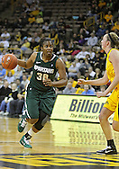 January 27 2010: Michigan St. forward Lykendra Johnson (30) drives with the ball as Iowa center Morgan Johnson (12) defends during the second half of an NCAA women's college basketball game at Carver-Hawkeye Arena in Iowa City, Iowa on January 27, 2010. Iowa defeated Michigan State 66-64.