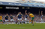 Cardiff - Saturday August 23rd, 2008: Arturo Lupoli of Norwich City scores his first goal (2-1) during the Coca Cola Championship match at The Ninian Park, Cardiff. (Pic by Paul Hollands/Focus Images)