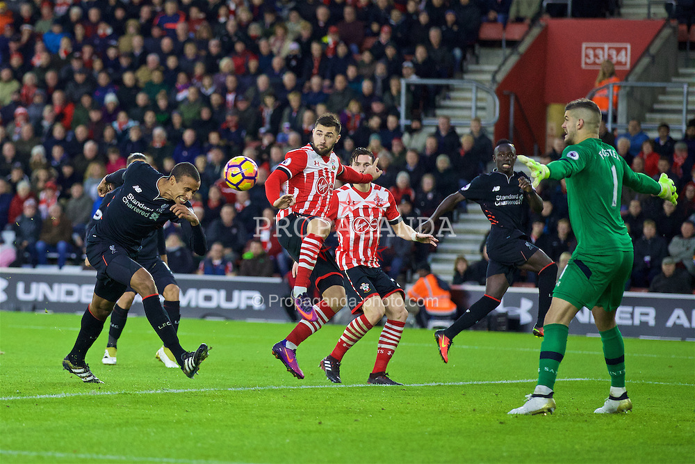 SOUTHAMPTON, ENGLAND - Saturday, November 19, 2016: Liverpool's Joel Matip sees his header saved by Southampton's goalkeeper Fraser Forster during the FA Premier League match at St. Mary's Stadium. (Pic by David Rawcliffe/Propaganda)