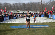 Nov 17, 2018; Madison, WI, USA; Dani Jones (55) of Colorado celebrates after winning the women's race in 19:42.8 during the NCAA Cross Country Championships at the Thomas Zimmer Championship Course.