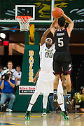 WACO, TX - DECEMBER 9: Jordan Green #5 of the Texas A&M Aggies shoots a three-pointer against the Baylor Bears on December 9, 2014 at the Ferrell Center in Waco, Texas.  (Photo by Cooper Neill/Getty Images) *** Local Caption *** Jordan Green
