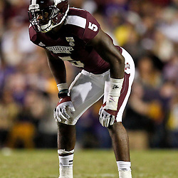 November 10, 2012; Baton Rouge, LA, USA; Mississippi State Bulldogs defensive back Nickoe Whitley (5) against the LSU Tigers during the second half of a game at Tiger Stadium.  LSU defeated Mississippi State 37-17. Mandatory Credit: Derick E. Hingle-US PRESSWIRE