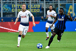 September 18, 2018 - Christian Eriksen of Tottenham Hotspur and Kwadwo Asamoah of Inter Milan during the UEFA Champions League Group B match between Inter Milan and Tottenham Hotspur at Stadio San Siro, Milan, Italy on 18 September 2018. Photo by Giuseppe Maffia. (Credit Image: © AFP7 via ZUMA Wire)