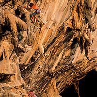 Rock climber on Stalagasaurus, 6a+, Tonsai Beach, Thailand