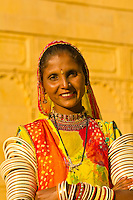 Rajasthani woman outside the Gorbandh Palace Hotel, Jaisalmer, Rajasthan, India