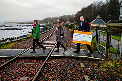 Green Party, Train Line Petition, 27-11-2019<br /> <br /> Scottish Greens launch train line petition. Parliamentary co-leader Alison Johnstone and Mid Scotland and Fife MSP Mark Ruskell joined Dunfermline and West Fife candidate Mags Hall in launching the campaign to re-open the train line which would link Dunfermline to Alloa, Glasgow and the west.<br /> <br /> Alison Johnstone in green<br /> Mags Hall in grey<br /> Mike Ruskell MSP<br /> <br /> (c) David Wardle | Edinburgh Elite media