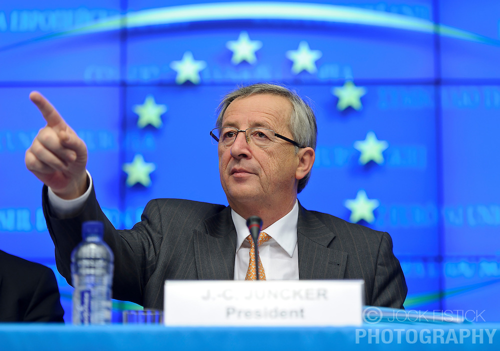 Jean-Claude Juncker, Luxembourg's prime minister, and president of the Eurogroup, speaks during a press conference following the Eurogroup meeting in Brussels, Monday Dec. 6, 2010.  (Photo © Jock Fistick).
