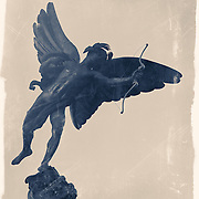 Eros , Piccaddilly London , fine art reportage photography , split tone and wet plate