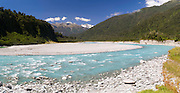 Panoramic view looking up the Whataroa River and into the Southern Alps, West Coast, New Zealand