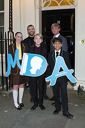 Tara Whelan, Ryan Wiggins and Junior Frood (winners of the Diana Award, left to right, front row) with Thomas Knights (back left) and Elliot Freize (back right)  posing for photos outside 11 Downing Street to celebrate seventeen years of the Diana Award. This award, set up in memory of Princess Diana, today has the support of both her sons the Duke of Cambridge and Prince Harry. Photo date: Wednesday, October 19, 2016. Photo credit should read: Richard Gray/EMPICS Entertainment