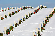 65095-03109 Wreaths on graves in winter Jefferson Barracks National Cemetery St. Louis,  MO