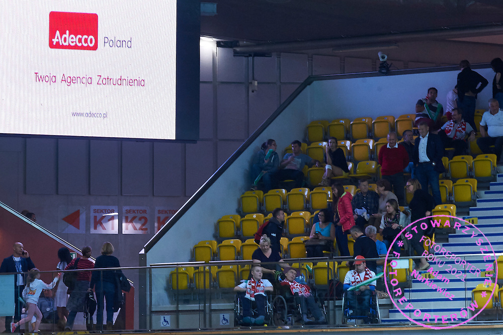 Adecco advertise on display board during Davis Cup Tie World Group Play-off Poland v Slovakia at Gdynia Arena Hall in Gdynia, Poland.<br /> <br /> Poland, Gdynia, September 18, 2015<br /> <br /> Picture also available in RAW (NEF) or TIFF format on special request.<br /> <br /> For editorial use only. Any commercial or promotional use requires permission.<br /> <br /> Adam Nurkiewicz declares that he has no rights to the image of people at the photographs of his authorship.<br /> <br /> Mandatory credit:<br /> Photo by &copy; Adam Nurkiewicz / Mediasport