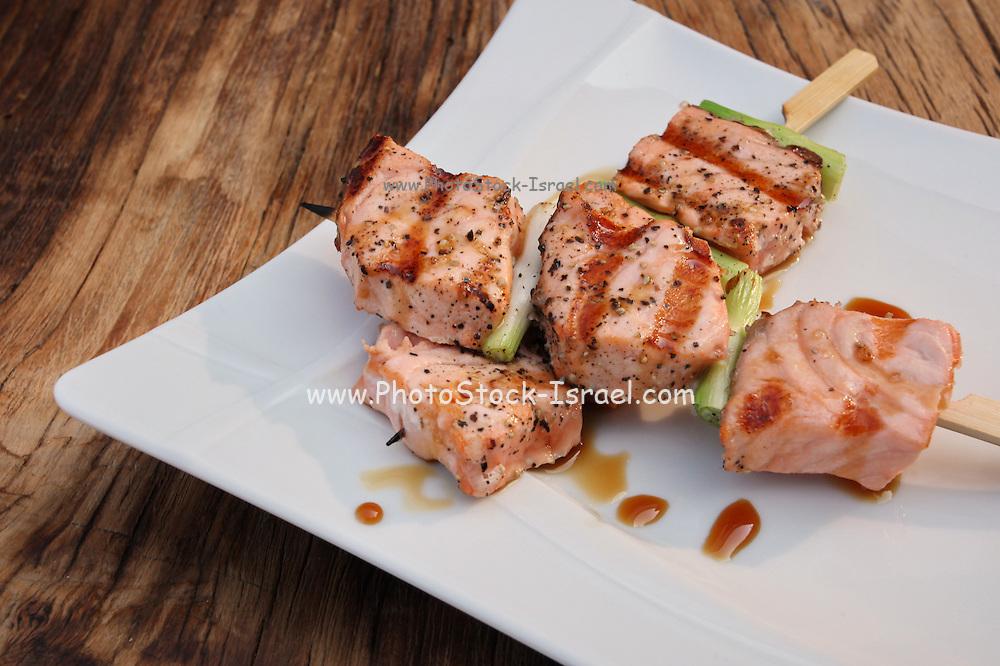 Salmon Teriyaki skewers