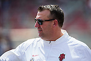 FAYETTEVILLE, AR - SEPTEMBER 5:  Head Coach Bret Bielema of the Arkansas Razorbacks watches his team warm up before a game against the UTEP Miners at Razorback Stadium on September 5, 2015 in Fayetteville, Arkansas.  The Razorbacks defeated the Miners 48-13.  (Photo by Wesley Hitt/Getty Images) *** Local Caption *** Bret Bielema