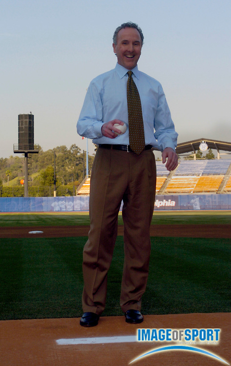Jan 29, 2004; Los Angeles, CA, USA; Los Angeles Dodgers owner Frank McCourt stands on pitchers mound at Dodger Stadium during press conference announcing his purchase of the team.