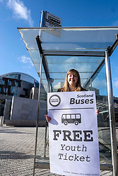 Scottish Greens, Free Bus Travel, 27 February<br /> <br /> Ahead of the budget debate this afternoon, Scottish Greens Parliamentary Co-Leaders Alison Johnstone MSP and Patrick Harvie MSP along with the Green MSP group staged a photocall outside the Scottish Parliament to celebrate their free bus travel for under 19s budget win.<br /> <br /> The Scottish Greens yesterday announced that a deal had been struck on free bus travel, more money for councils, extra resource for community safety and an additional £45 million package to tackle fuel poverty and the climate emergency.<br /> <br /> Pictured:  Gillian Mackay MSP<br /> <br /> Alex Todd | Edinburgh Elite media