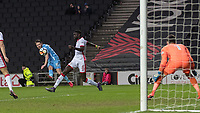Football - 2017 / 2018 FA Cup - Fourth Round: Milton Keynes Dons vs. Coventry City<br /> <br /> Marc McNulty (Coventry City) with a curling effort at the Milton Keynes goal at the Stadium MK.<br /> <br /> COLORSPORT/DANIEL BEARHAM