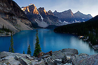 Glacially fed Moraine Lake sets below the Valley of Ten Peaks near Lake Louise in Banff National Park, Alberta
