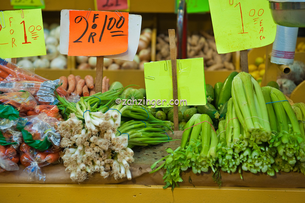 Scallions, Carrots, Celery, Produce. Grand Central Market, Urban, Downtown, Farm-fresh produce, fresh, fruits, Grand Central, Market, Los Angeles CA, Public, Southern California,