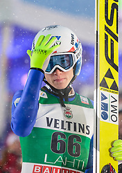 21.02.2016, Salpausselkae Schanze, Lahti, FIN, FIS Weltcup Ski Sprung, Lahti, Herren, im Bild Johann Andre Forfang (NOR) // Johann Andre Forfang of Norway reacts during Mens FIS Skijumping World Cup of the Lahti Ski Games at the Salpausselkae Hill in Lahti, Finland on 2016/02/21. EXPA Pictures © 2016, PhotoCredit: EXPA/ JFK