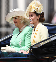 The Duchess of Cornwall and The Duchess of Cambridge attending Trooping The Colour, Buckingham Palace, London. Picture credit should read: Doug Peters/EMPICS