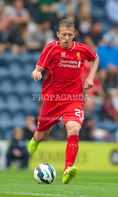 PRESTON, ENGLAND - Saturday, July 19, 2014: Liverpool's Lucas Leiva in action against Preston North End during a preseason friendly match at Deepdale Stadium. (Pic by David Rawcliffe/Propaganda)