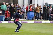 Alex Hales of England catches Tim Murtagh of Ireland's drive - bowled by Adil Rashid of England during the One Day International match between England and Ireland at the Brightside County Ground, Bristol, United Kingdom on 5 May 2017. Photo by Andrew Lewis.