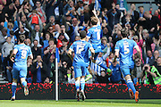 Brighton central midfielder, Dale Stephens (6) celebrates giving Brighton a 1-0 lead during the Sky Bet Championship match between Brighton and Hove Albion and Burnley at the American Express Community Stadium, Brighton and Hove, England on 2 April 2016.