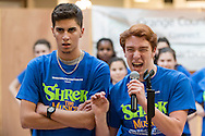"Town of Wallkill, New York - Members of the cast of ""Shrek the Musical"" from Warwick High School perform at the Orange County Arts Council All-County High School Musical Showcase and Arts Display at the Galleria at Crystal Run on Feb. 28, 2015. The theme of the event was: ""Arts Build Confidence""."