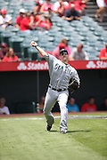 ANAHEIM, CA - JULY 20:  Willie Bloomquist #8 of the Seattle Mariners plays catch before the game against the Los Angeles Angels of Anaheim at Angel Stadium on Sunday, July 20, 2014 in Anaheim, California. The Angels won the game 6-5. (Photo by Paul Spinelli/MLB Photos via Getty Images) *** Local Caption *** Willie Bloomquist