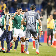 HARRISON, NEW JERSEY- APRIL 10: Carlos Salcido #3 of C.D. Guadalajara celebrates with goalkeeper Rodolfo Costa #30 of C.D. Guadalajara after the final whistle during the New York Red Bulls Vs C.D. Guadalajara CONCACAF Champions League Semi-final 2nd leg match at Red Bull Arena on April 10, 2018 in Harrison, New Jersey. (Photo by Tim Clayton/Corbis via Getty Images)
