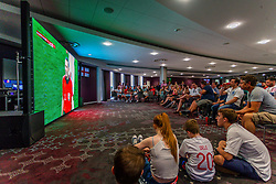 Fans watch the game in the Heineken Lounge at Ashton Gate - Ryan Hiscott/JMP - 11/07/2018 - FOOTBALL - Ashton Gate - Bristol, England - England v Croatia, World Cup Village at Ashton Gate, FIFA World Cup Semi Final 2018