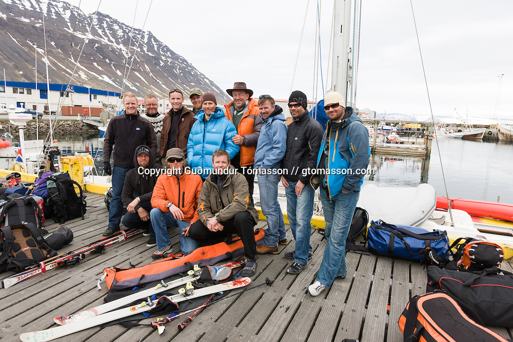 The skiers in &Iacute;safj&ouml;r&eth;ur, Iceland.<br /> <br /> Images from an ski touring adventure to J&ouml;kulfir&eth;ir, a series of fjords in west Iceland, with Bergmenn Mountain Guides and Borea Adventures. The tour takes skiers from fjord to fjord with the sail boat Aurora as a overnight base.