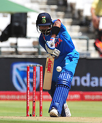 Cape Town-180207 Captain  of India cricket Vitrat Kohli  blocks  a fast ball  from Chris Morris  in a ODI game at Newlands against South Africa.photograph:Phando Jikelo/African News Agency(ANA)