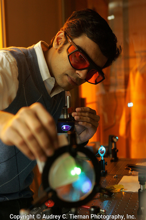 May 2, 2008--Flushing, NY:  Dr. Vinod Menon, a physics professor at Queens College works with lasers in his lab.