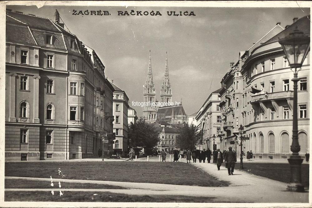 Zagreb : Račkog ulica. <br /> <br /> ImpresumZagreb : Foto-Material od t. t. Griesbach i Knaus, [1930].<br /> Materijalni opis1 razglednica : tisak ; 9 x 14 cm.<br /> NakladnikFotoveletrgovina Griesbach i Knaus (Zagreb)<br /> Mjesto izdavanjaZagreb<br /> Vrstavizualna građa • razglednice<br /> ZbirkaGrafička zbirka NSK • Zbirka razglednica<br /> Formatimage/jpeg<br /> PredmetZagreb –– Ulica Franje Račkoga<br /> SignaturaRZG-RACK-1<br /> Obuhvat(vremenski)20. stoljeće<br /> NapomenaRazglednica je putovala 1930. godine.<br /> PravaJavno dobro<br /> Identifikatori000954699<br /> NBN.HRNBN: urn:nbn:hr:238:101939 <br /> <br /> Izvor: Digitalne zbirke Nacionalne i sveučilišne knjižnice u Zagrebu